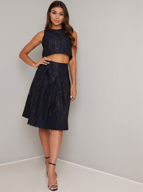 Jacquard Crop Top in Blue