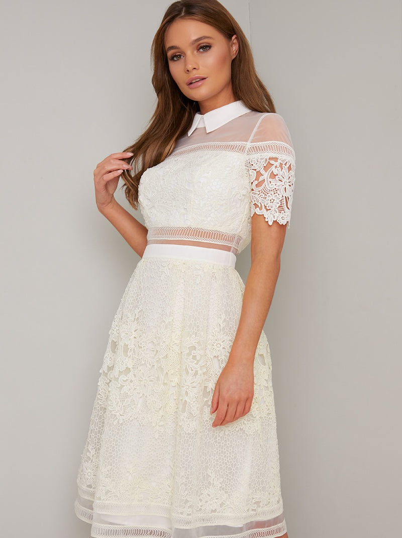 Collar Detail Lace Open Back Midi Dress in Cream