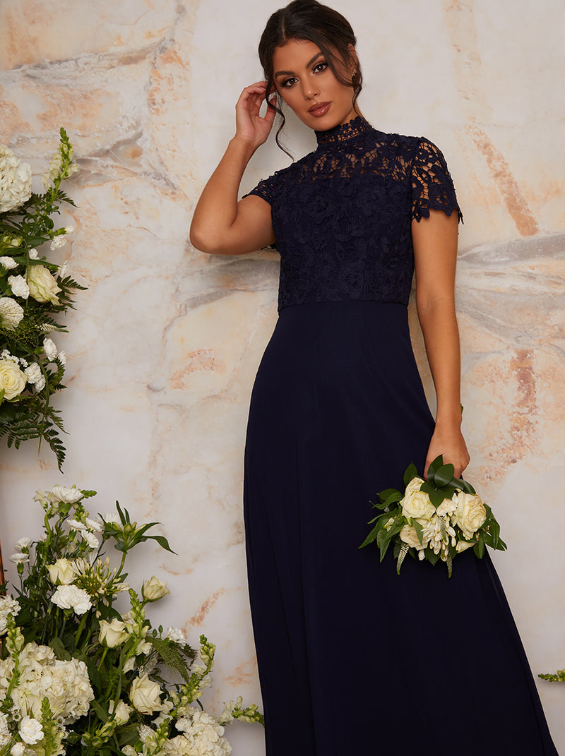 High Neck Lace Maxi Bridesmaid Dress in Blue