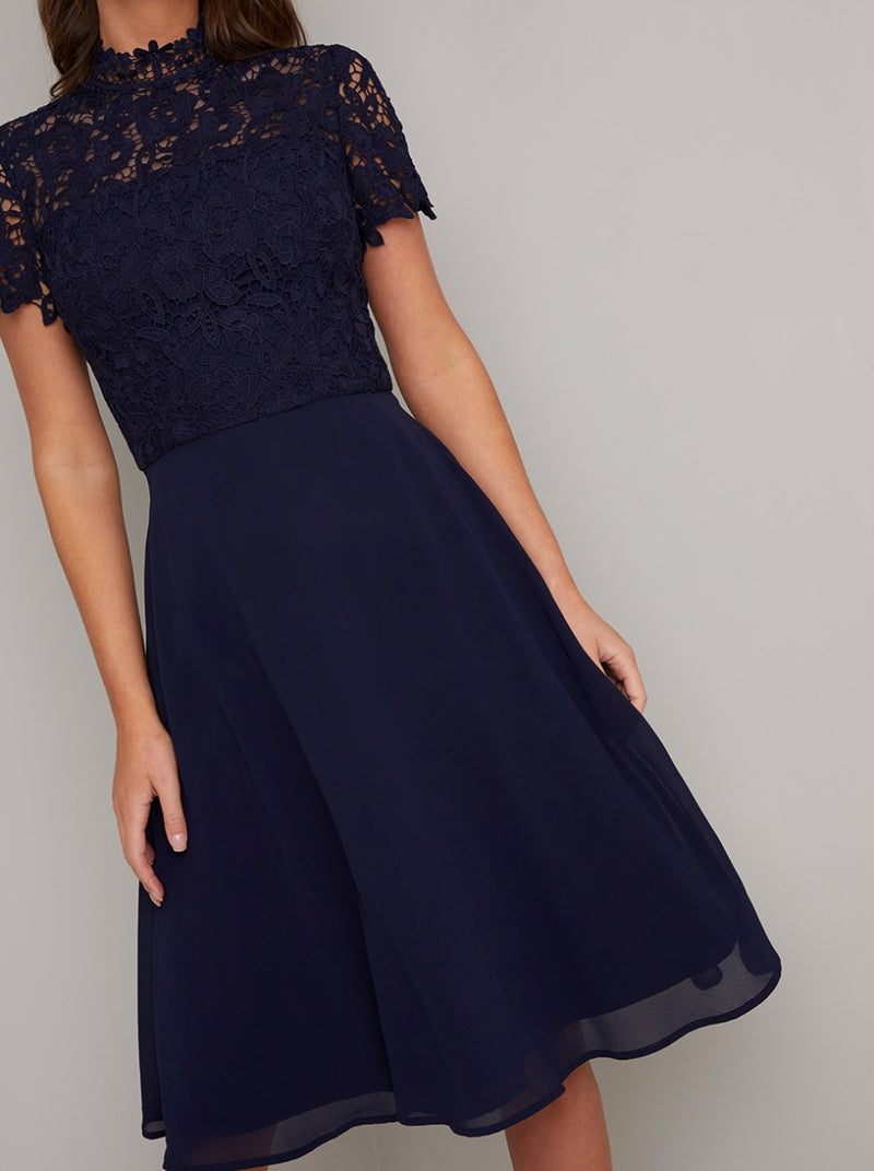 High Neck Short Sleeved Lace Bodice Midi Dress in Blue