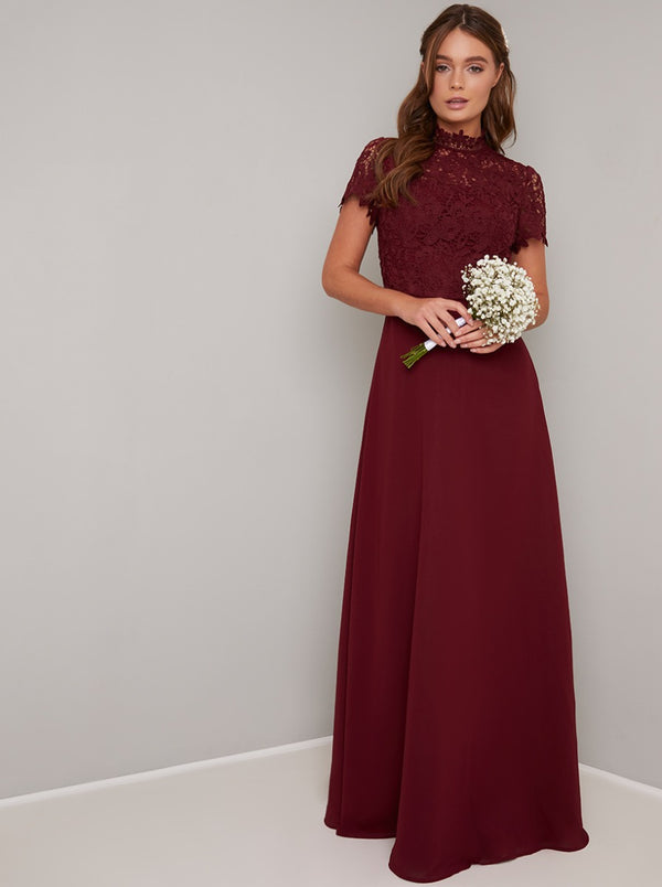 Lace Bodice High Neck Maxi Bridesmaid Dress in Red
