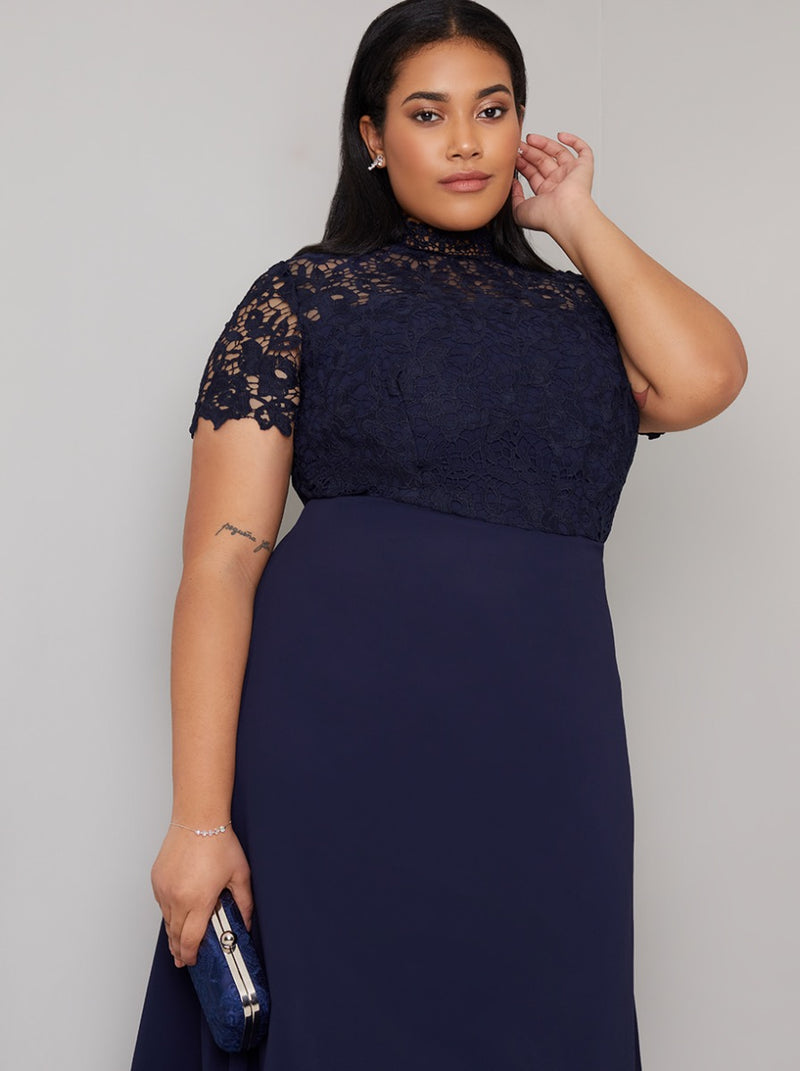 Plus Size High Neck Lace Maxi Dress in Blue
