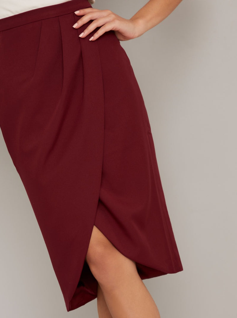Wrap Tulip Midi Skirt in Red