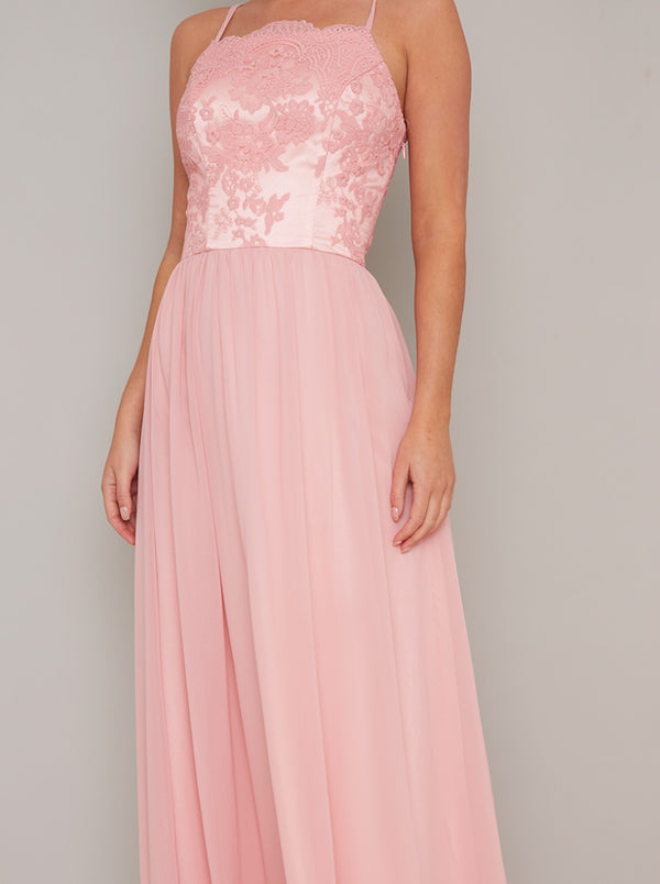 Cami Strap Lace Bodice Maxi Dress in Coral