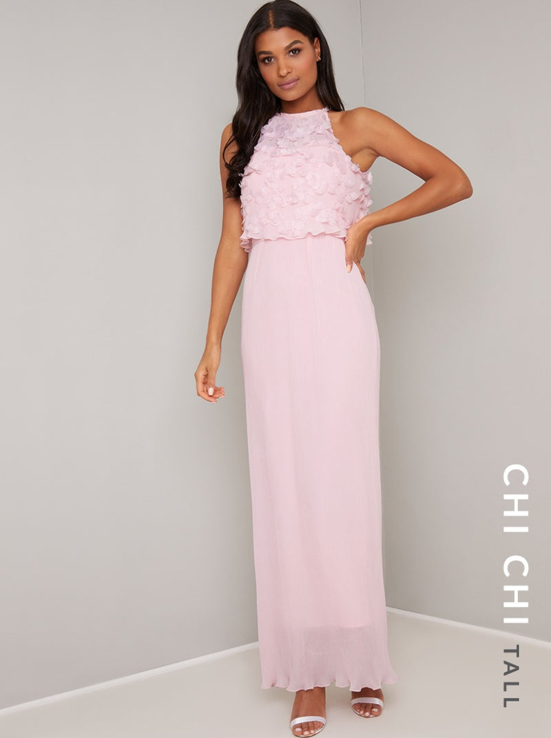 Tall 3D Floral Overlay Maxi Dress in Pink
