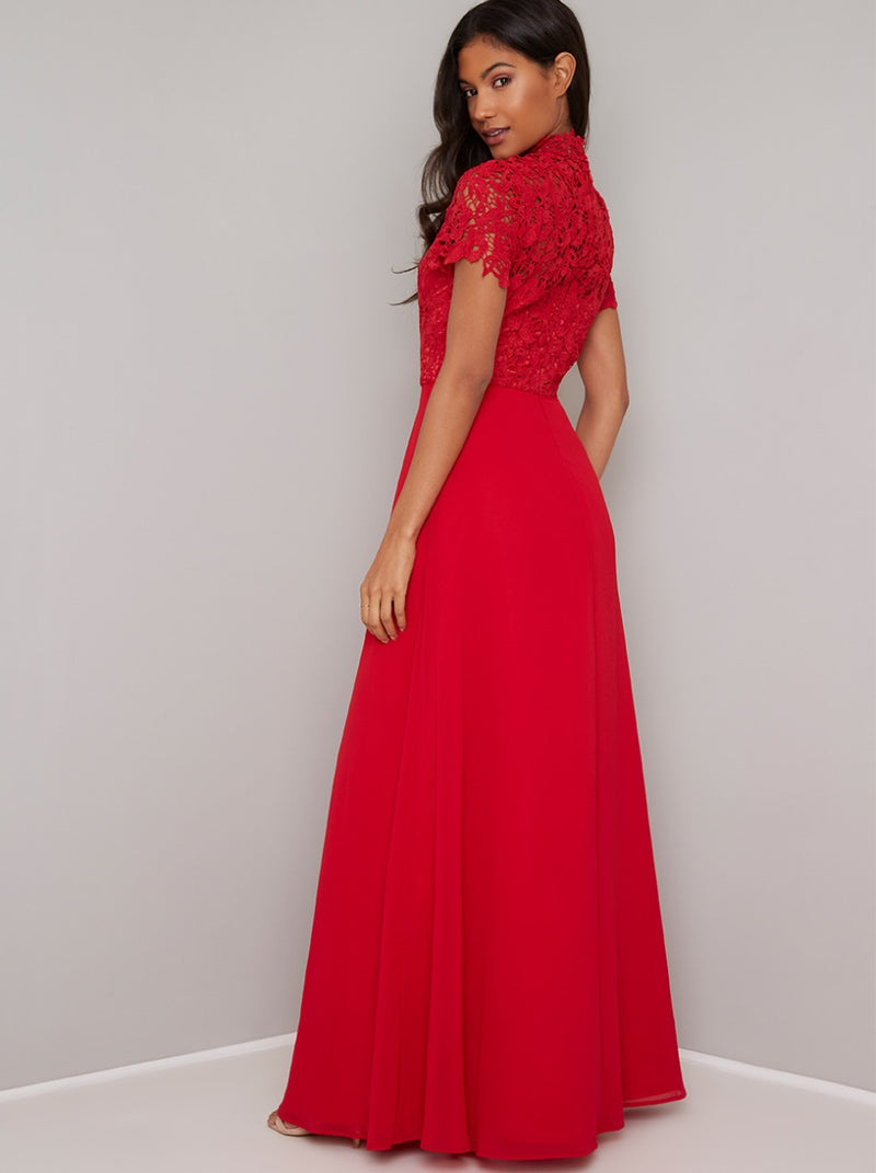 Crochet Bodice High Neck Maxi Dress in Red