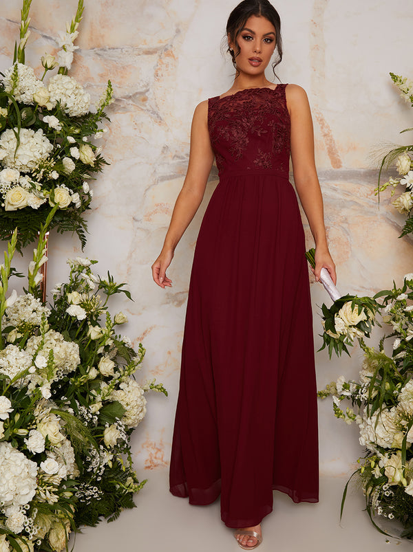 Lace Bodice High Neck Bridesmaid Maxi Dress in Red