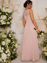 Lace Maxi Bridesmaid Dress in Pink