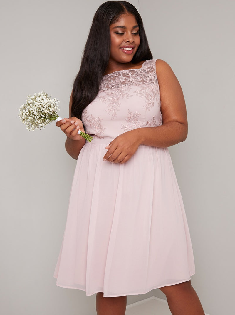 Plus Size Lace Bodice Midi Dress in Pink