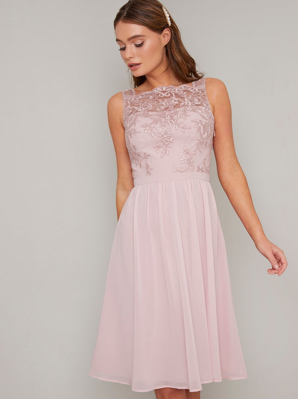 Lace Bodice Chiffon Midi Dress In Mink