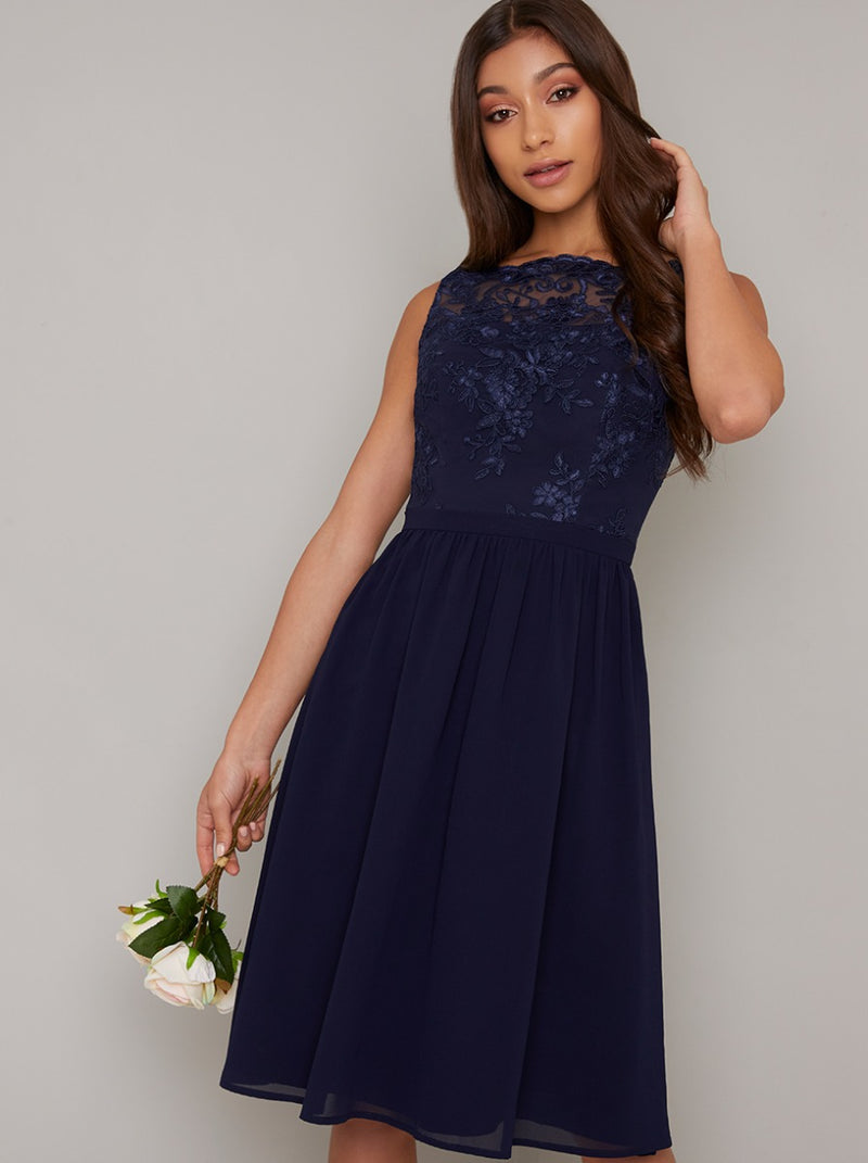 Lace Bodice Chiffon Midi Dress in Navy