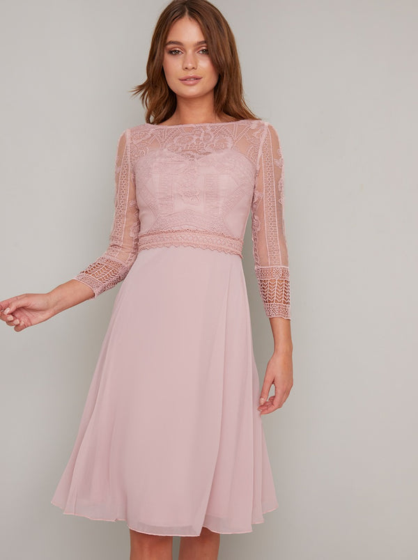 Lace Bodice Sheer Sleeved Chiffon Midi Dress in Brown