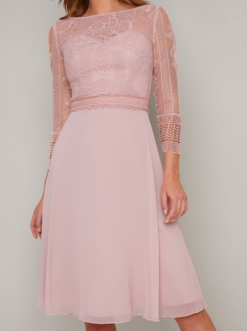 Tall Long Sleeved Lace Bodice Midi Dress in Pink