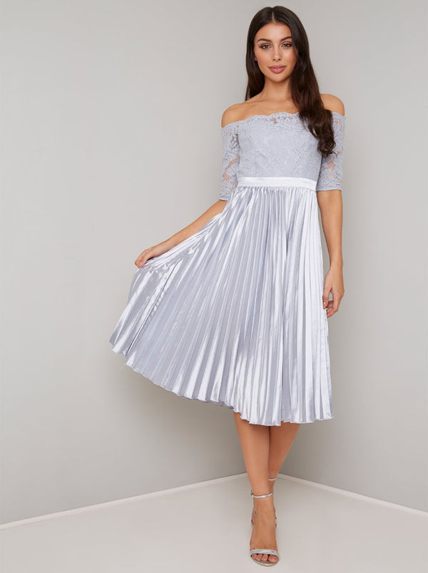 Lace Bardot Pleated Midi Dress In Blue