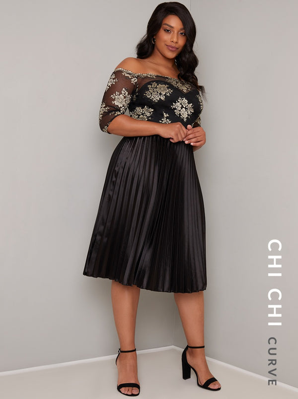 Plus Size Bardot Lace Bodice Pleat Midi Dress in Black