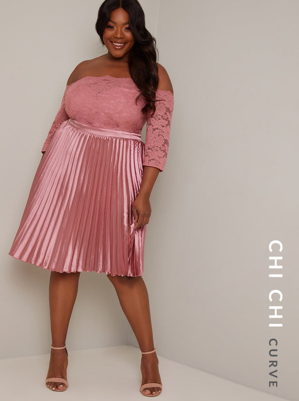 Plus Size Bardot Lace 3/4 Sleeve Midi Dress in Pink