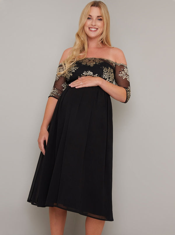 Maternity Bardot Lace Chiffon Midi Dress in Black