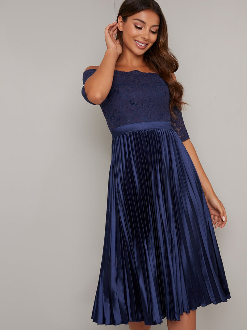 Bardot Lace Bodice Pleated Midi Dress in Blue