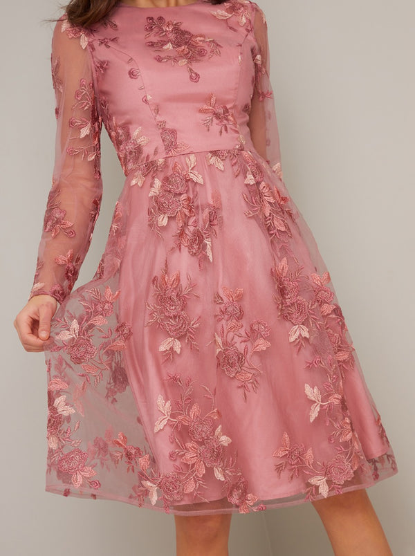 Long Sleeved Embroidered Overlay Midi Dress in Pink