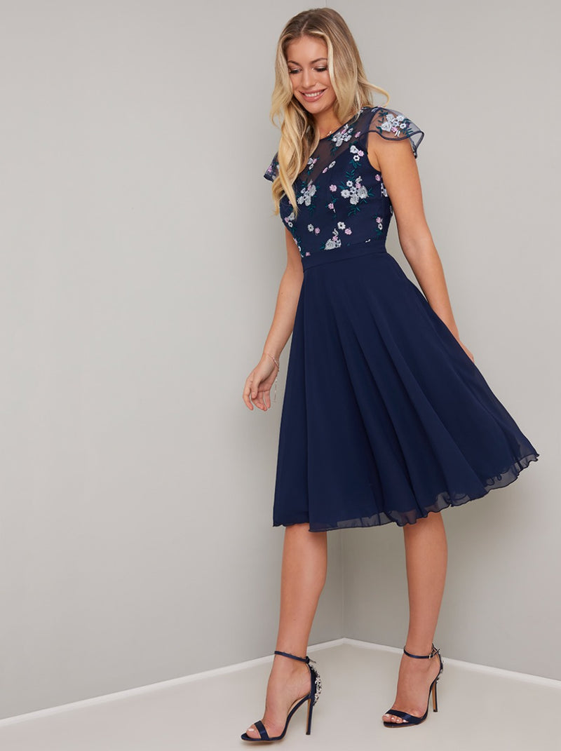 Lace Bodice Midi Dress in Blue