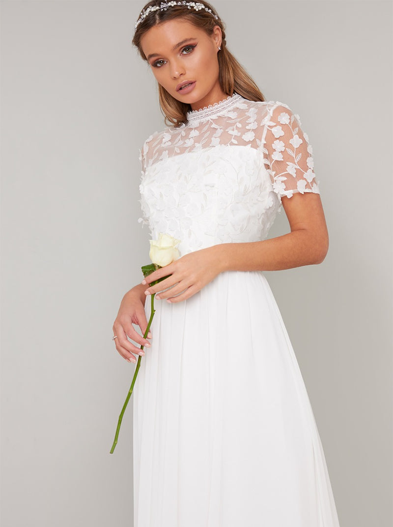 Bridal Short Sleeved 3D Lace Wedding Dress in White