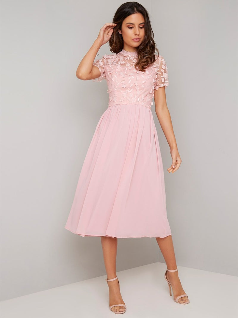 High Neck 3D Floral Chiffon Midi Dress in Pink