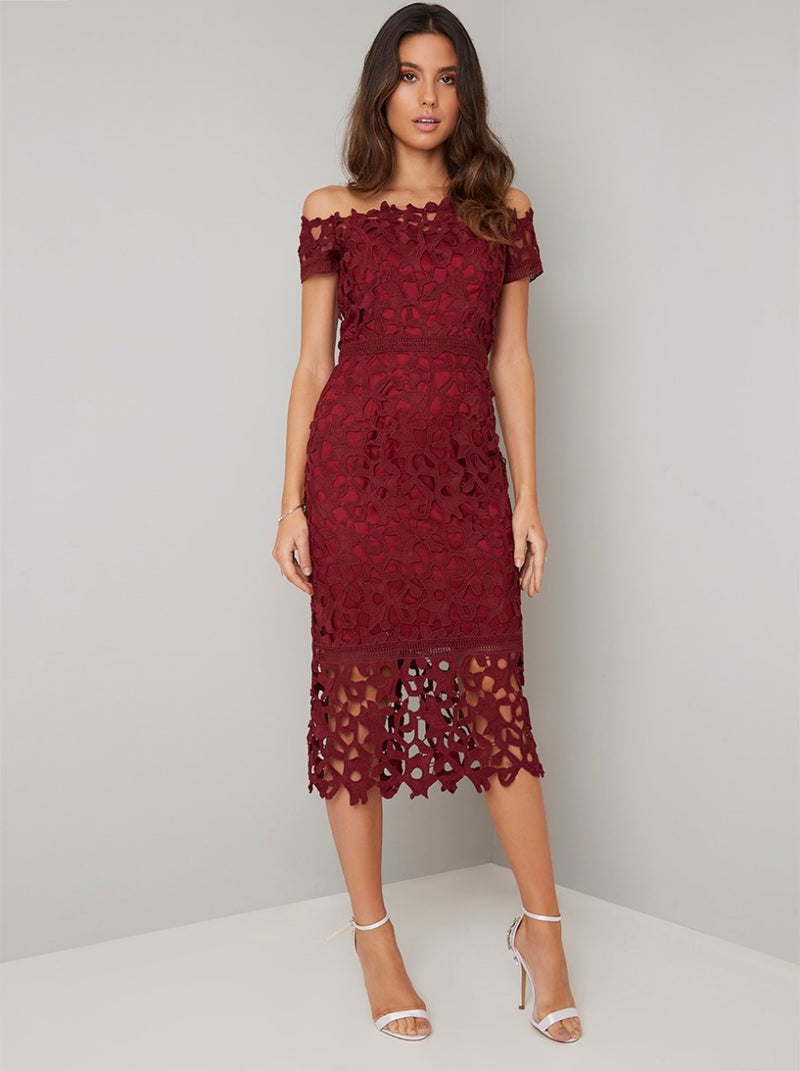 Bardot Lace Crochet Bodycon Dress in Red
