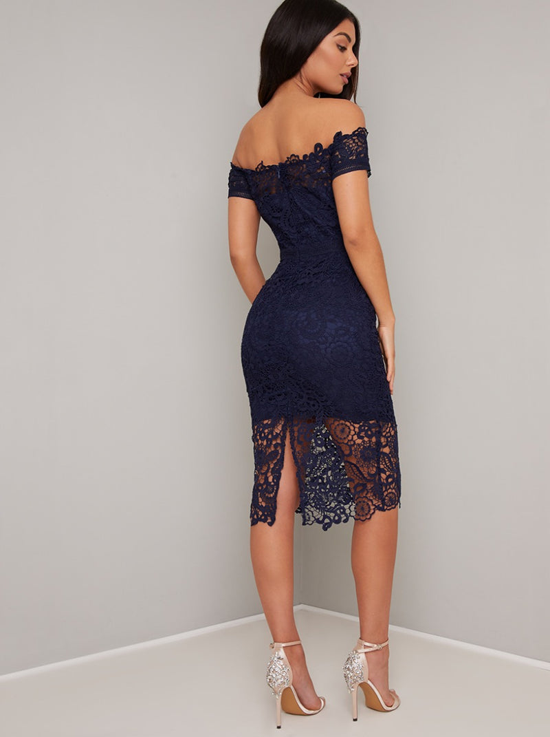 Bardot Lace Crochet Bodycon Midi Dress in Blue