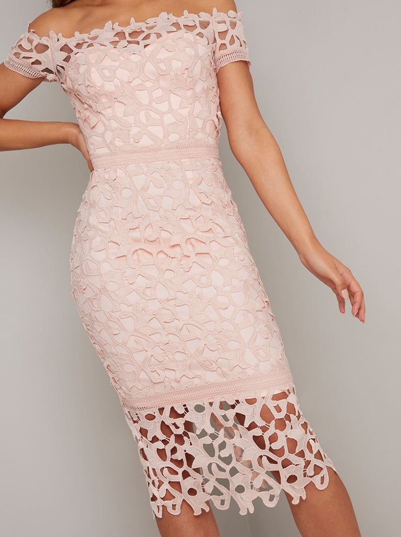 Tall Bardot Neck Lace Bodycon Midi Dress in Pink