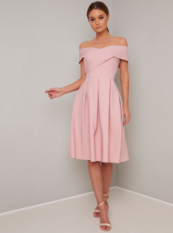Fold Design Bardot Midi Dress in Pink