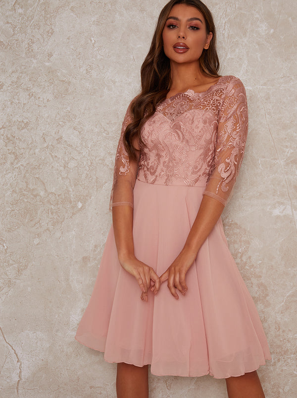 Lace Bridesmaid Midi Dress in Rose Gold