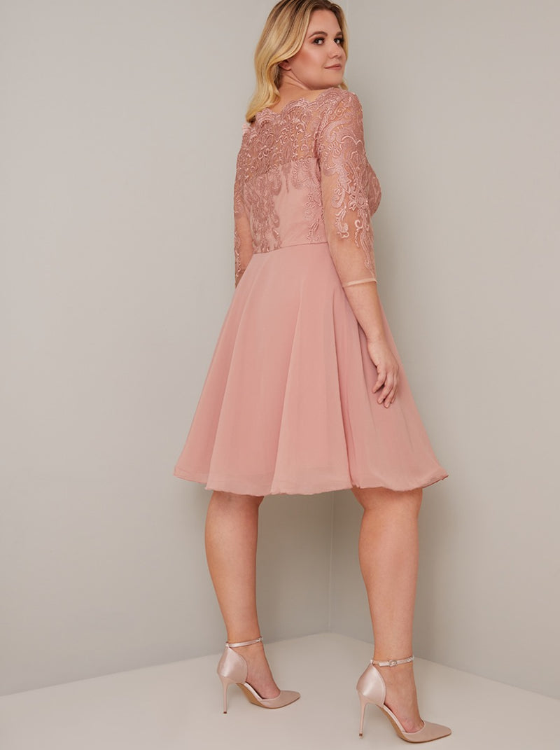 Plus Size Lace Bodice 3/4 Sleeve Midi Dress in Rose Gold