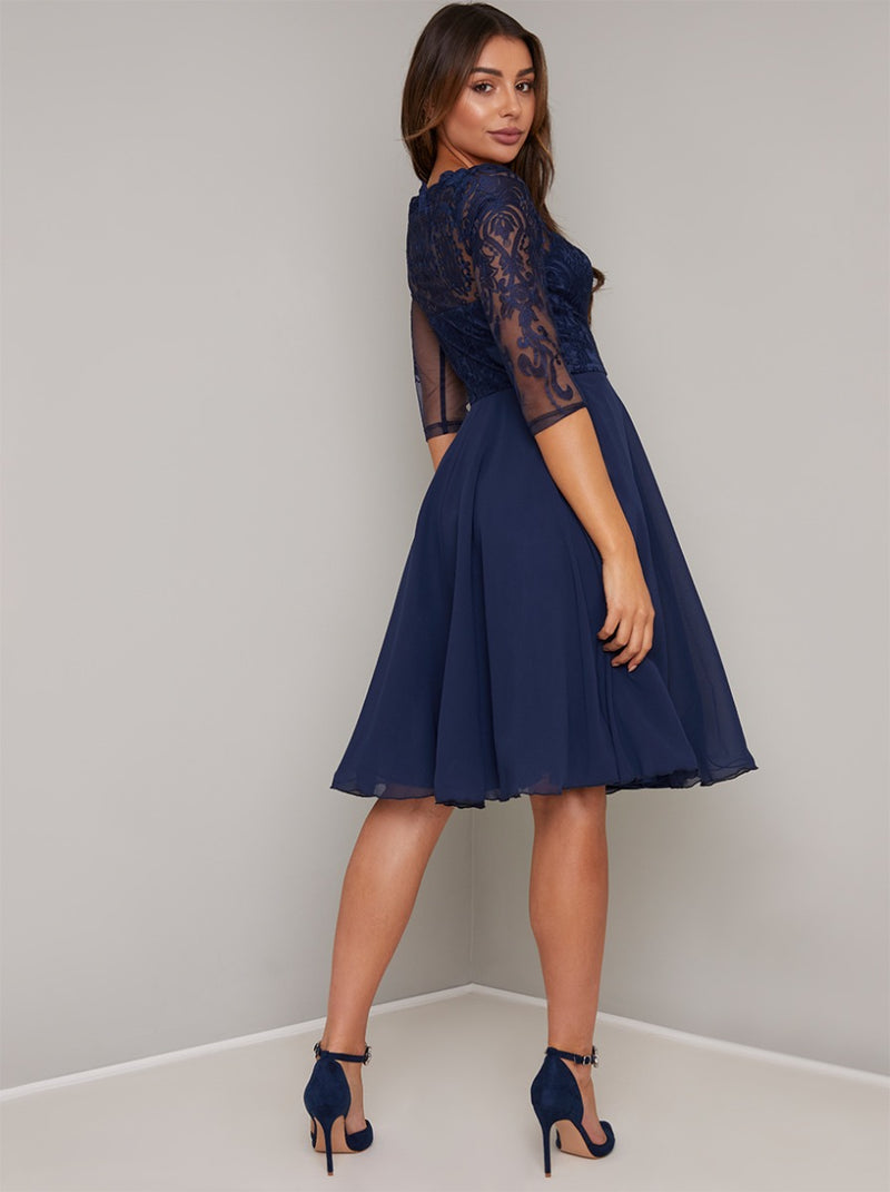 3/4 sheer sleeved lace bodice midi dress in navy