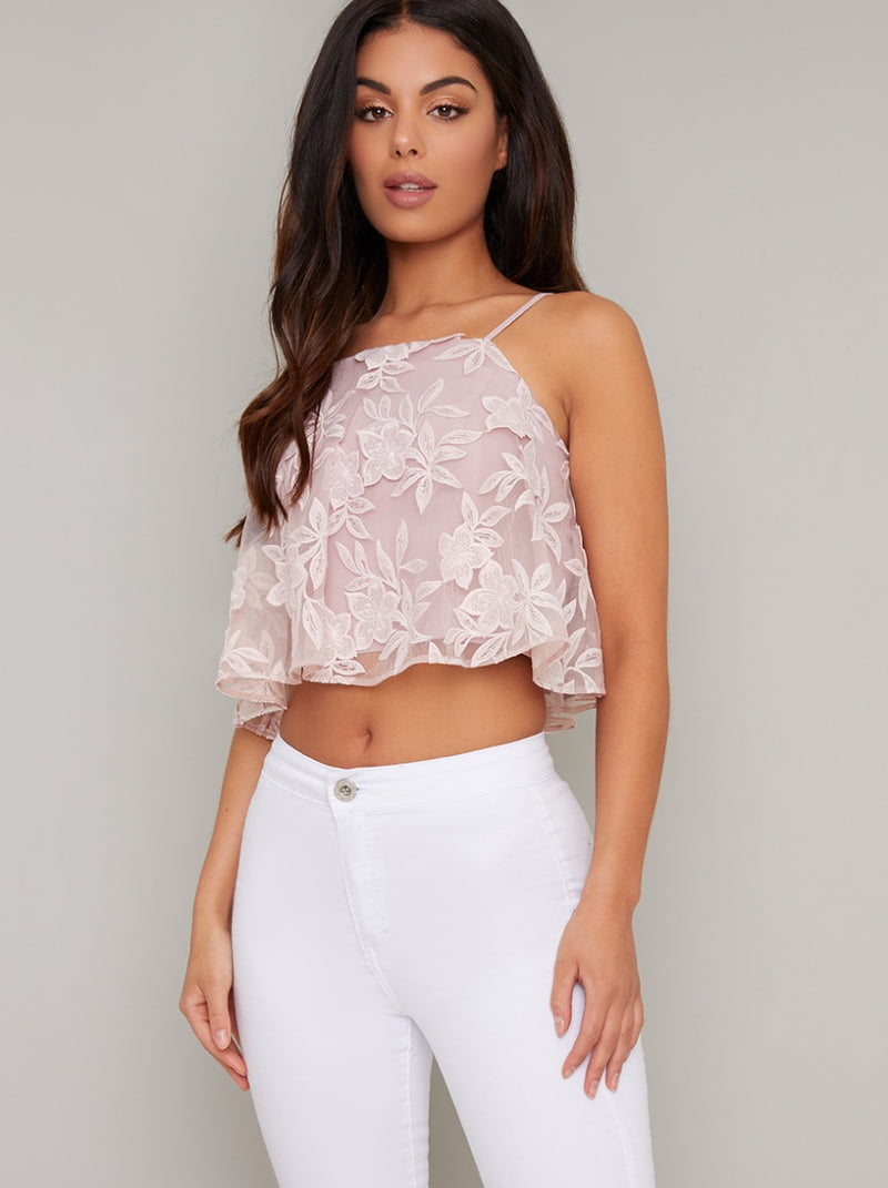 Cami Strap Lace Overlay Crop Top in Pink