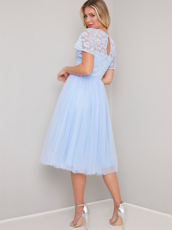 Lace Cap Sleeved Tulle Midi Dress In Blue