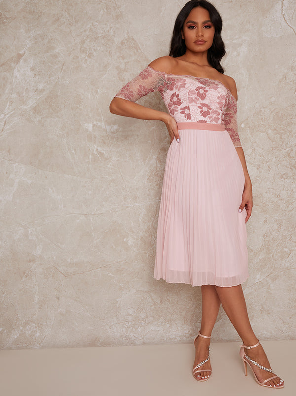Bardot Sheer Lace Overlay Pleated Midi Dress in Pink