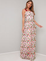 Floral Embroidered Maxi Dress in Pink