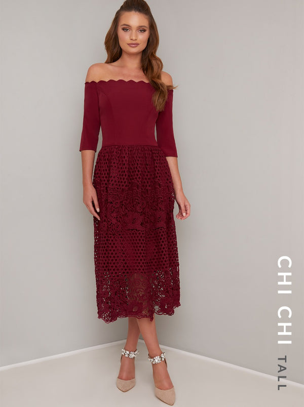 Tall 3/4 Sleeved Lace Crochet Midi Dress in Red