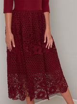 Embroidered Crochet Midi Dress in Red