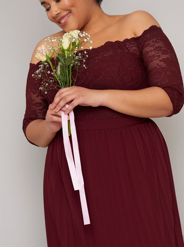 Plus Size Lace Bardot Pleat Maxi Dress in Red