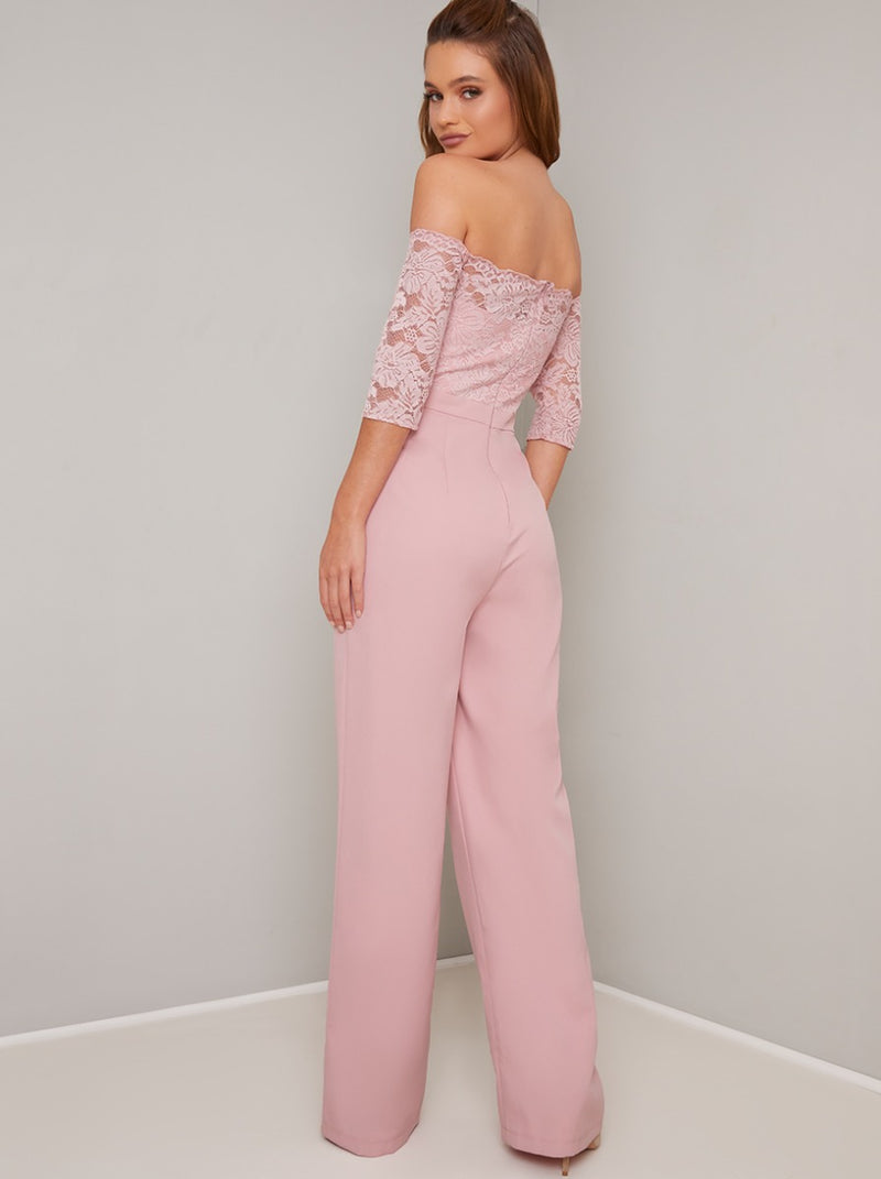 Fitted Bardot Lace Jumpsuit in Pink