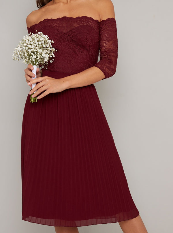 Lace Bardot Bodice Pleat Midi Dress in Burgundy