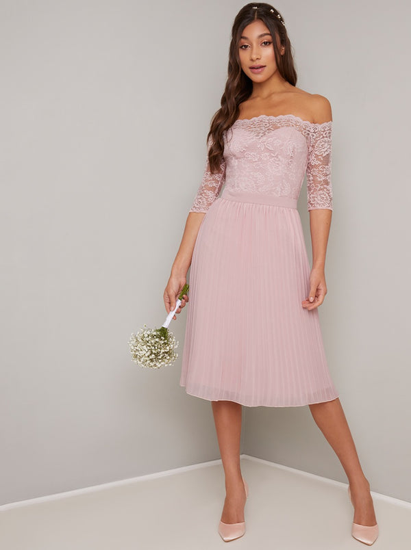 Lace Bardot Pleat Midi Dress In Mink