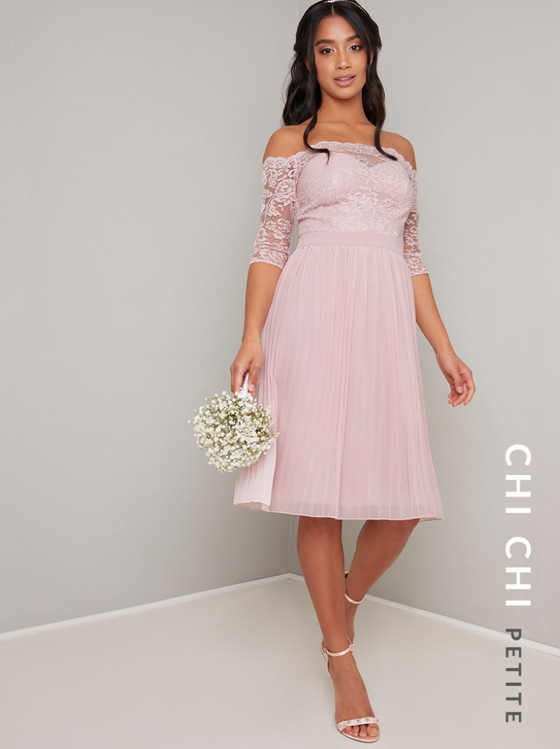 Petite Lace Bardot Pleat Midi Dress in Pink