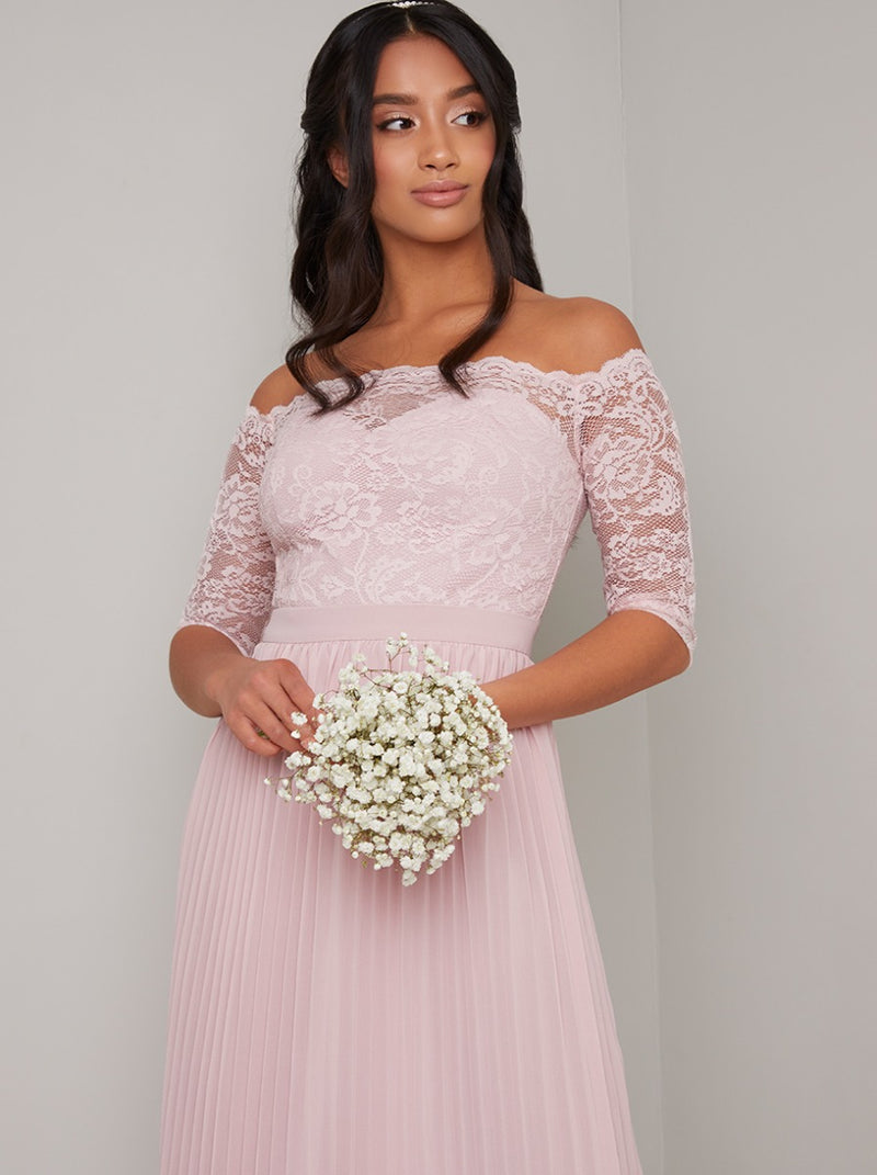 Petite Lace Bardot Bodice Pleat Maxi Dress in Pink