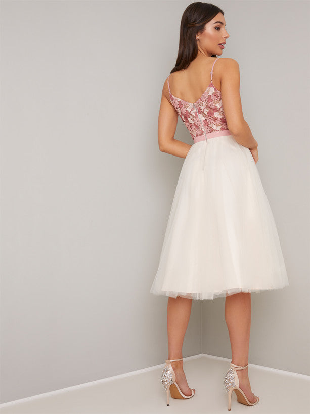 Cami Strap Lace Layered Tulle Midi Dress in Pink