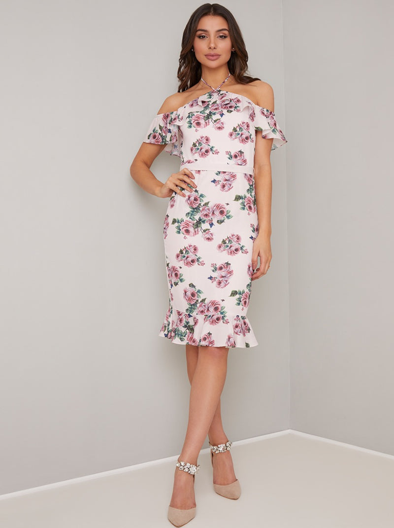 Printed Halterneck Ruffle Bodycon Midi Dress in Pink