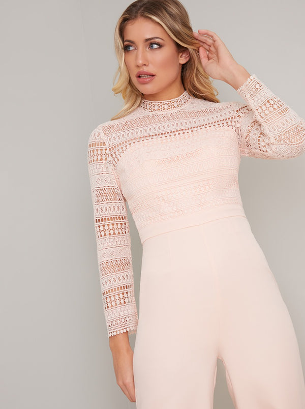 Crochet Bodice Long Sleeved Flared Jumpsuit in Pink