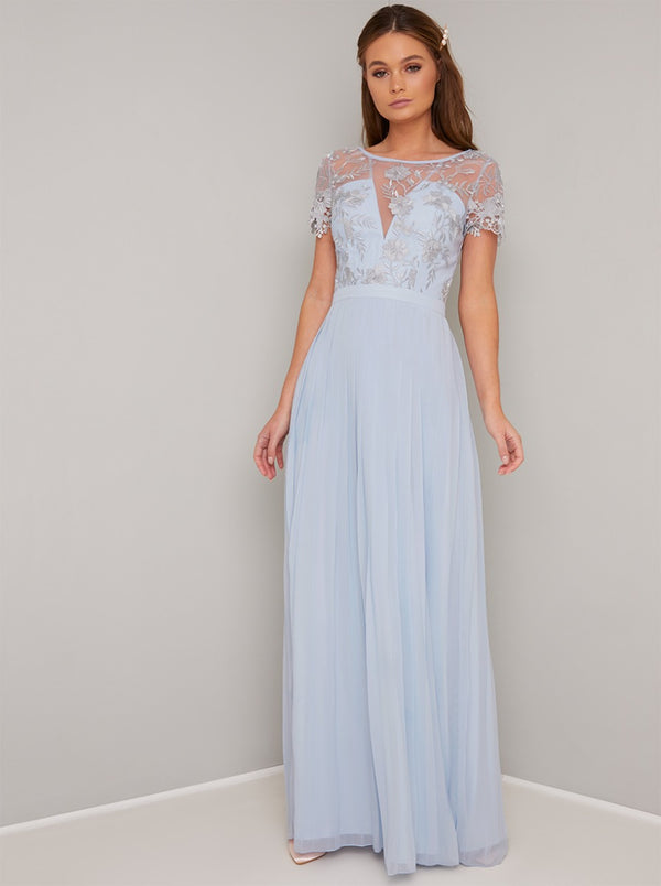 Sheer Lace Pleated Maxi Dress in Blue