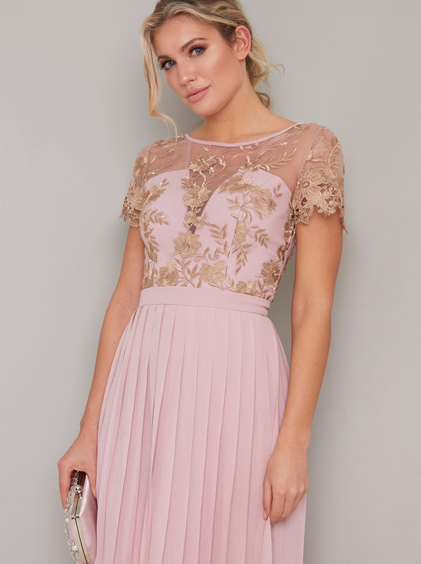 Lace Embroidered Short Sleeved Pleat Maxi Dress in Pink